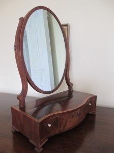 Serpentine-front, mahogany veneer, inlaid shaving stand