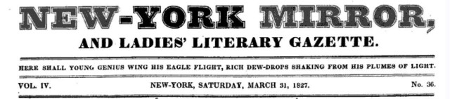 New-York Mirror Saturday March 31, 1827 title page