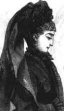 Mourning dress Peterson's March 1873 - detail