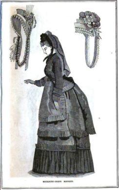Peterson's 1870 Mourning dress, bonnets