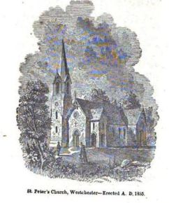 St. Peter's engraving, Robert Bolton Jr. History of the Protestant Episcopal Church in the County of Westchester, 1855 cropped