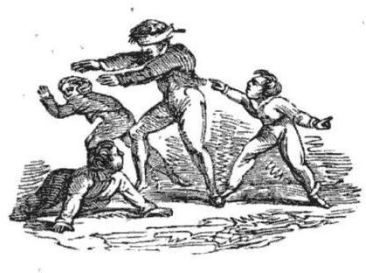 Boys play blindman's buff in this illustration from The Boy's Own Book (Boston, 1847).