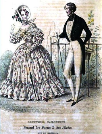 Costumes Parisiens. Le Journal des Dames et des Modes, June 10, 1838. The stylish ensembles worn by the woman and man in this fashion plate from 1838 resemble those in Bartow-Pell's silhouette.
