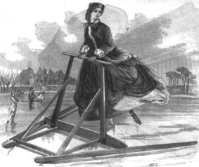 Safety Skating Frame for Beginners. Godey's Lady's Book, December 1863. This intrepid beginner is not hampered by her fashionable large hoop skirt.