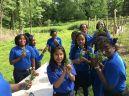 Bronx schoolchildren at Bartow-Pell with their garden bouquets.