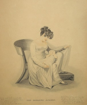 Unknown artist (British). The Darling Asleep and The Darling Awake, ca. 1809–30. After color stipple engravings by Samuel Freeman (British, 1773–1857), after original works by Adam Buck (Anglo-Irish, 1759–1833). Watercolor on paper. Bartow-Pell Mansion Museum 2006.05 and 06