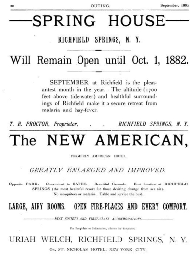 Ads for Richfield Springs 1882