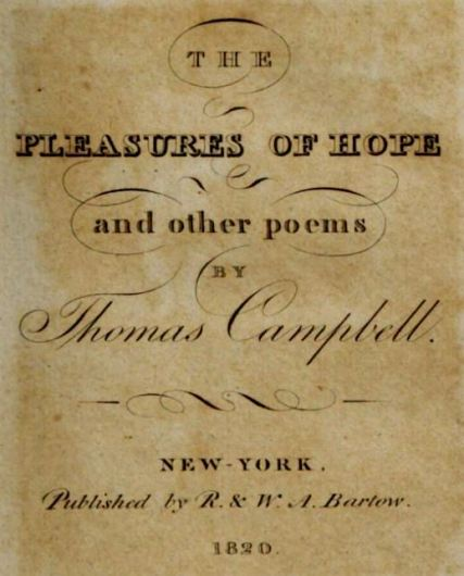 Pleasures of Hope 1820 title page