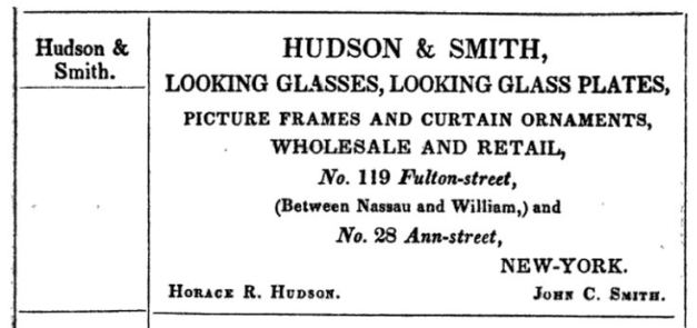Hudson & Smith Advertisement, 1845