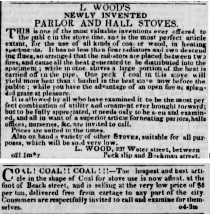Ads--parlor stoves and coal