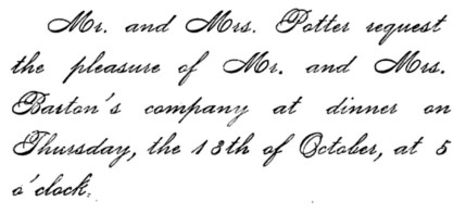 Dinner invitation, 1882
