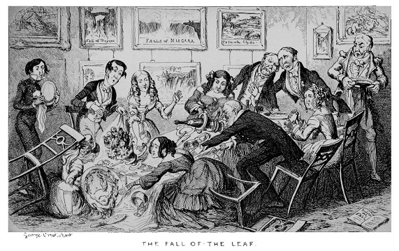 George Cruikshank, The Fall of the Leaf, Comic Almanac, 1845