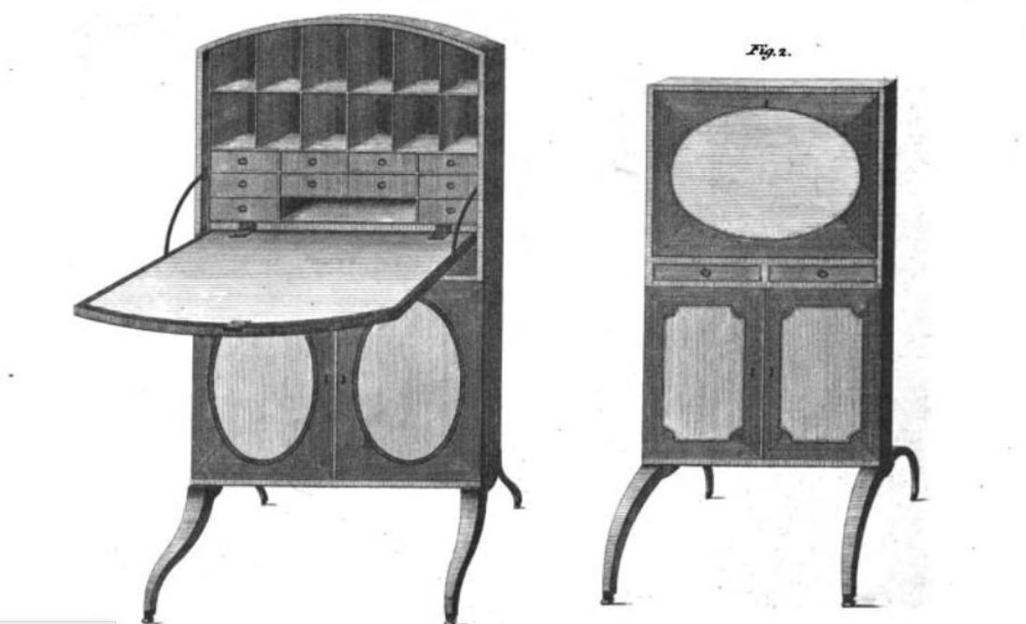 Gentleman's fig. 1 and Lady's fig. 2 writing fire screens 1788, pl. 18