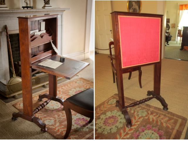 Ladies' Writing Fire Screen, front and back