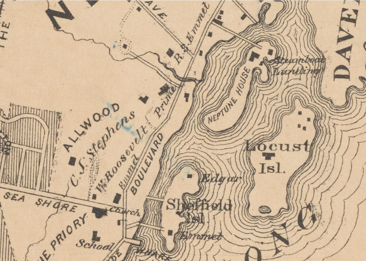1874 Map of Pelham and New Rochelle, Pelham Manor and Huguenot Heights Association